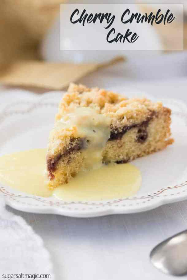 This Easy Cherry Cake with Crumble Topping is a delightful afternoon tea cake topped with cherry jam and a crunch streusel topping. #sugarsaltmagic #cherrycake #cherries #summerrecipes #summerdesserts #afternoontea