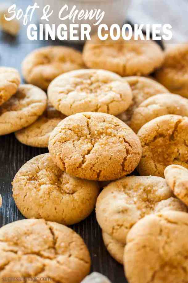 These perfectly Soft Chewy Ginger Cookies are filled with ground and candied ginger, then rolled in sugar right before they're baked.