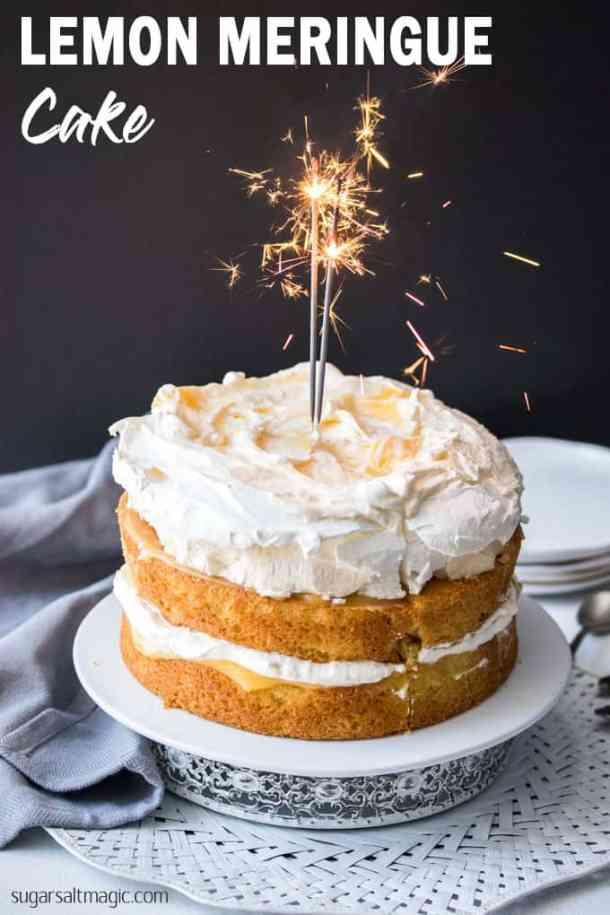 This Lemon Meringue Cake is a simple layered cake, filled with homemade lemon curd and whipped cream and topped with a cloud-like meringue. It makes a dramatic and gorgeous celebration cake. #sugarsaltmagic #lemonmeringue #meringuerecipe #pavlovacake #pavlova #pavlovarecipe #lemoncake #birthdaycake #meringuecake #easymeringuerecipe