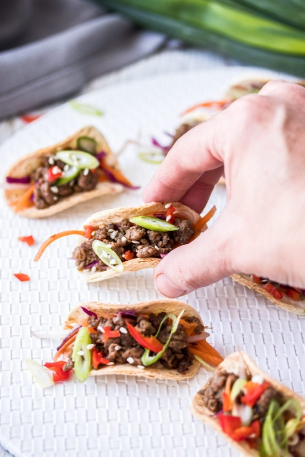 My Mini Korean Beef Tacos are mini tacos filled with Korean style beef. Filled with umami flavour, these tacos are perfect as an appetiser but can be made into full size tacos too.