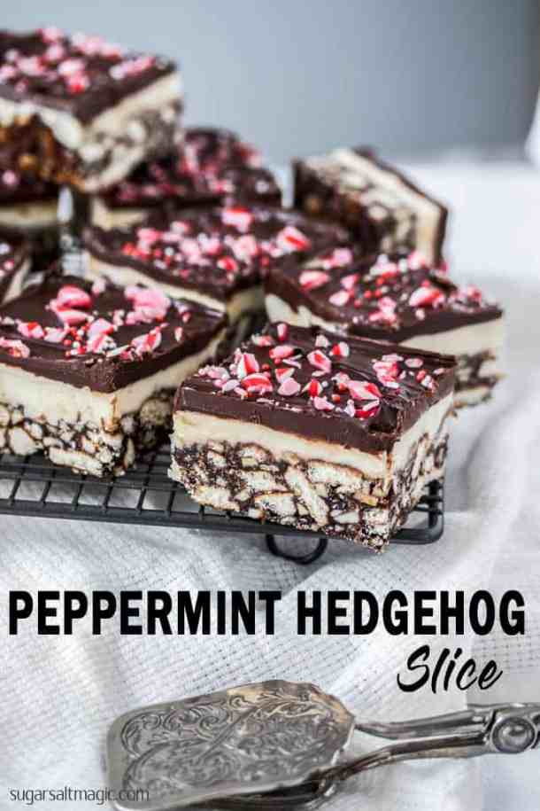 This Peppermint Hedgehog Slice recipe is a simple no bake slice. It's a chocolate peppermint slice, filled with nuts and biscuits and a minty twist on an Aussie classic.