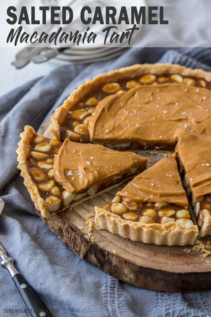 This Macadamia Salted Caramel Tart recipe is a showstopper. A real salted caramel tart filling wrapped around macadamia nuts and topped with a caramelised white chocolate ganache