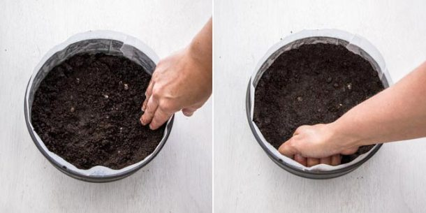 Chocolate cookie crumbs being pressed into the base of a springform tin