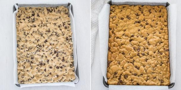 Looking for the best cookie bar recipe ever?! These Caramel Chocolate Chip Cookie Bars are layered cookie bars with choc chip cookie on the top and bottom and a smooth caramel centre.