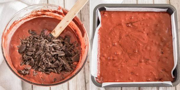 Adding chocolate pieces to brownie mix and brownie mix in a baking tin