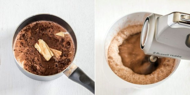 Combining ingredients for chocolate custard