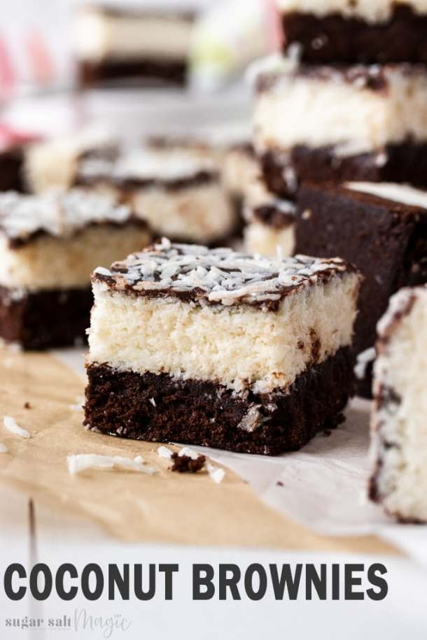 Coconut lovers, this Easy Chocolate Coconut Brownies recipe is just for you! A fudgy and rich chocolate brownie, a sticky coconut filling and a topping of gooey ganache. You could call almost call them bounty brownies.