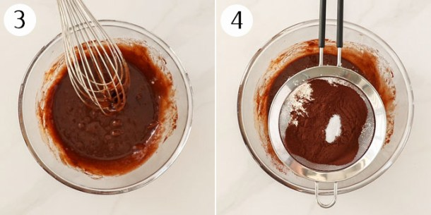 A mixing bowl with a whisk in brownie batter and then with a sieve on top