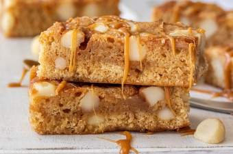 Two blondies stacked on top of each other