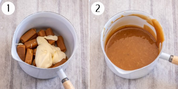 Caramels and cream in a saucepan to make caramel sauce