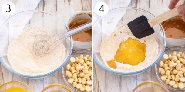 Photos showing how to mix blondie batter.
