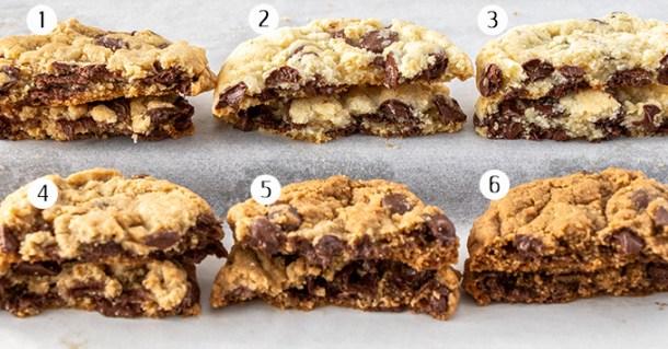 Six cookies broken in half showing the inside texture