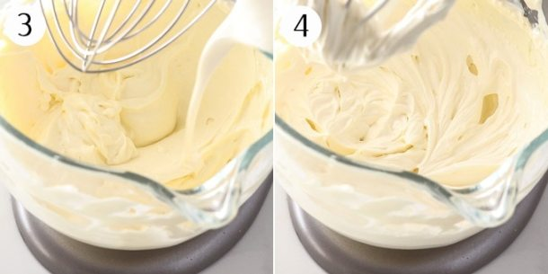 Mixing together ingredients for a cheesecake in a stand mixer