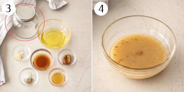 Collage showing how to make an easy vinaigrett