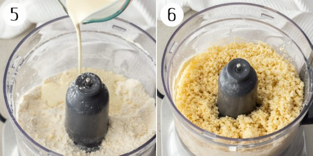 Adding cream to cobbler dough, then showing the final texture.