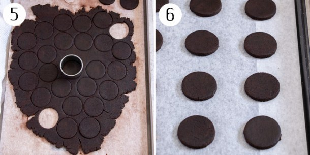 Cutting out circles of chocolate cookie dough and placing them on a baking tray