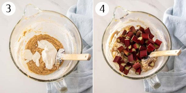 Adding sour cream and rhubarb pieces to cake batter in a glass bowl