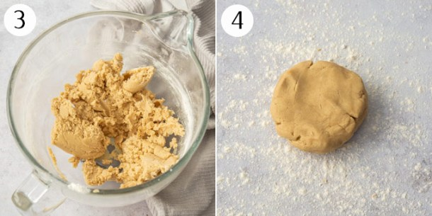 Cookie dough on a floured surface ready to roll out