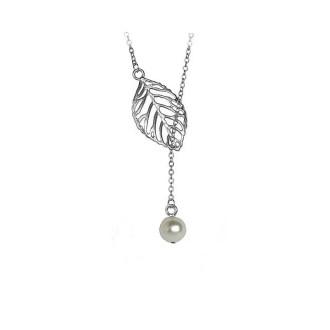 Zilverkleurige ketting met hanger blad en parel
