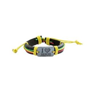 I love Jesus armband geel