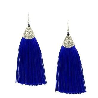 Kwast oorbellen blauw