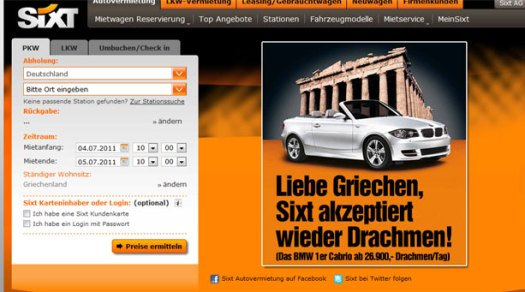 Sixt ad of accepting drachmas