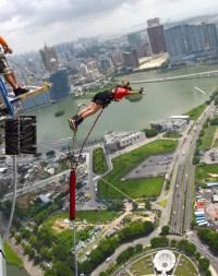 mid air Free falling Macau Tower bungee jump