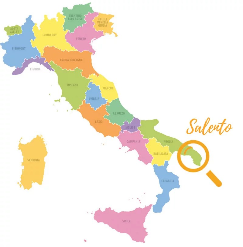 Italy Map Salento Suitcase and wanderlust
