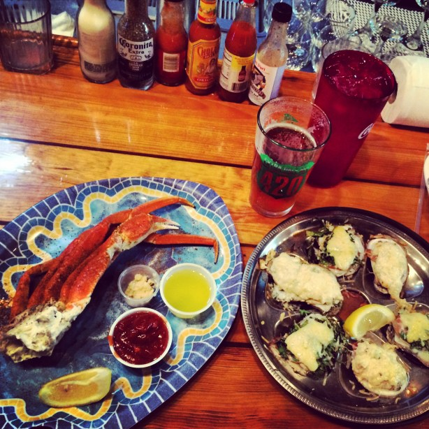 Crab legs and oysters in costal North Carolina.