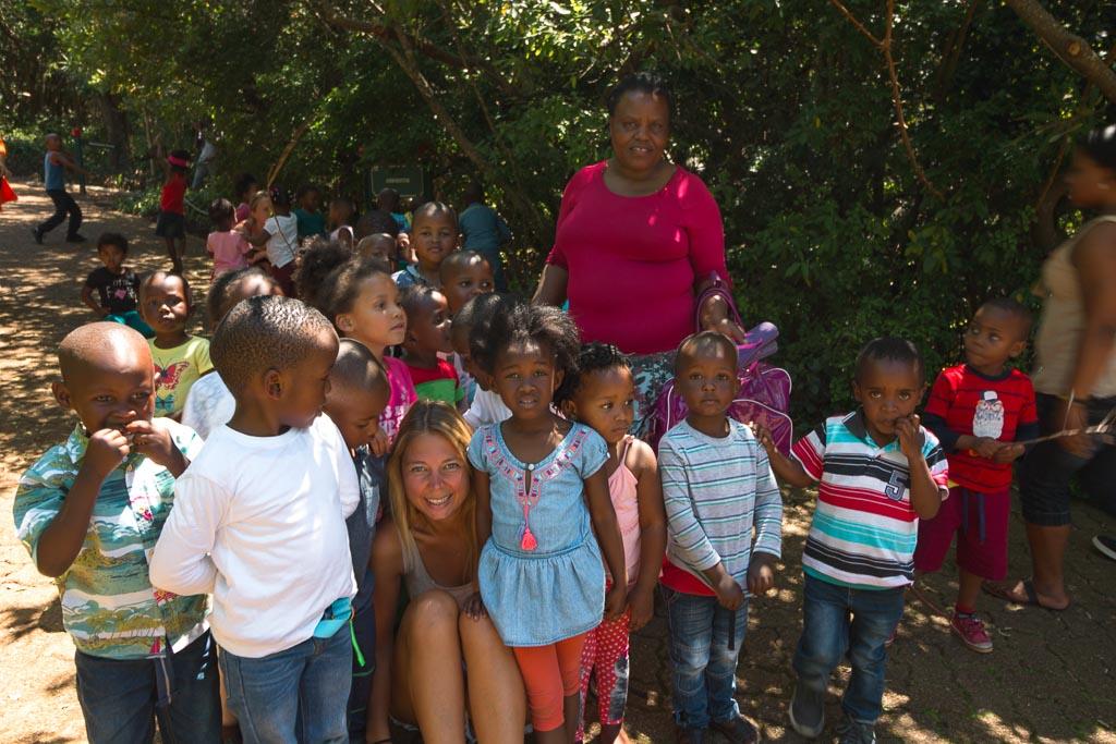 South African kids in kirstenbosch botanical garden
