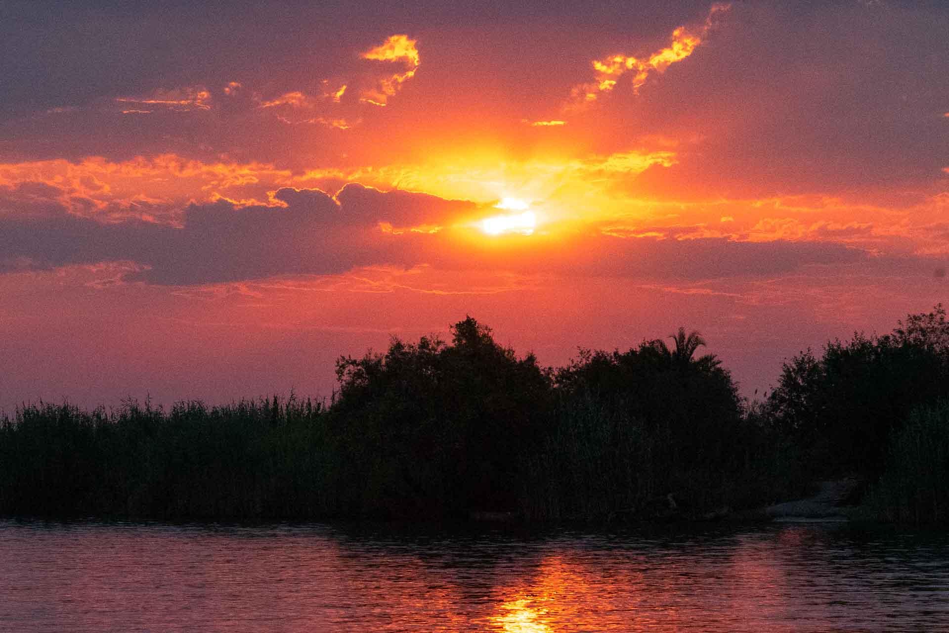 Sunset at the Chobe river in Botswana