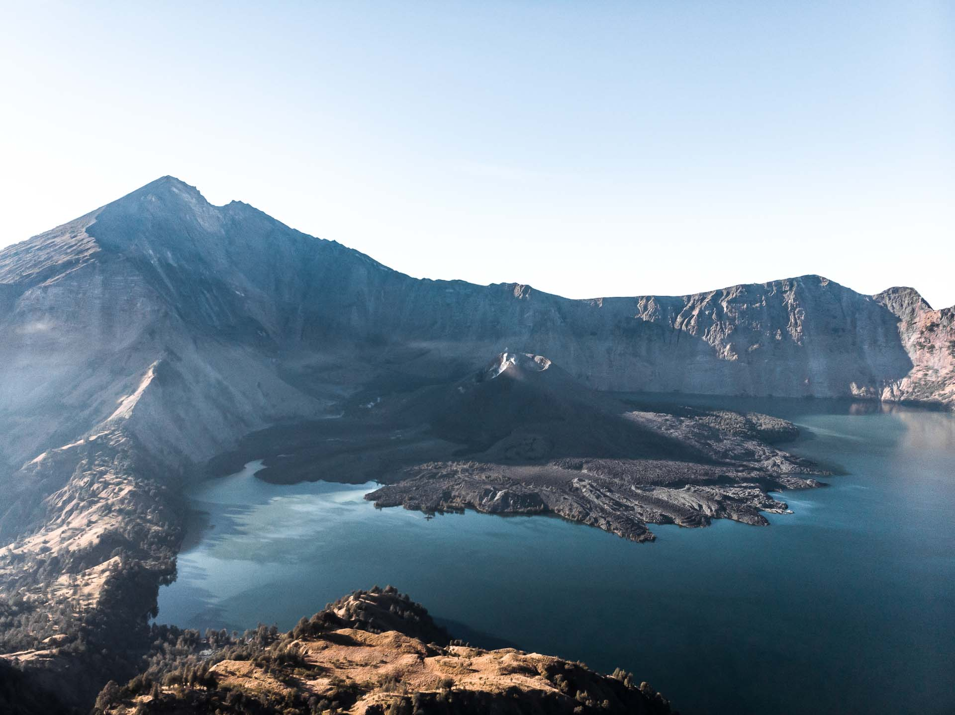 View over lake and caldera Mount Rinjani