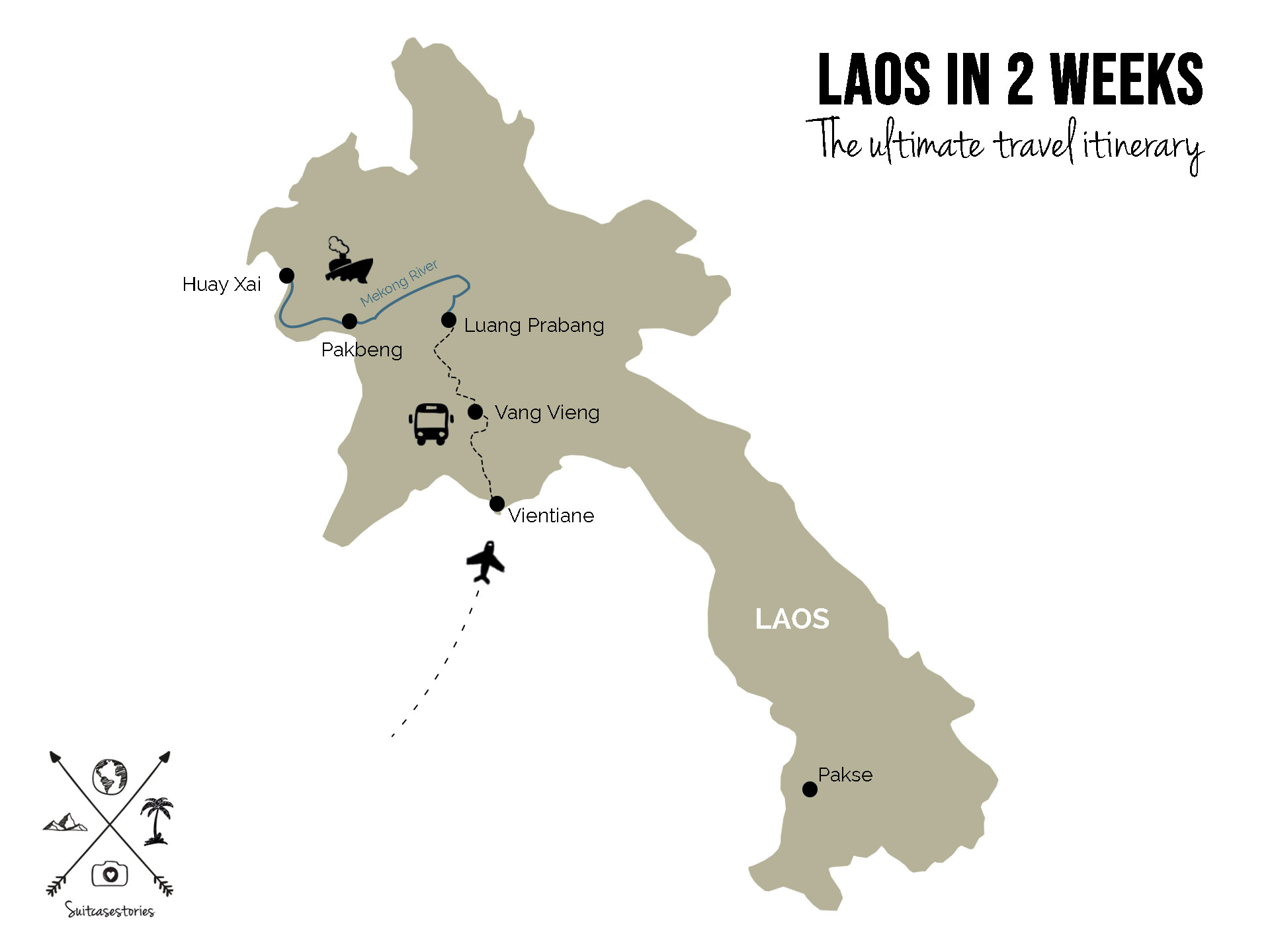 2 weeks in Laos itinerary Map