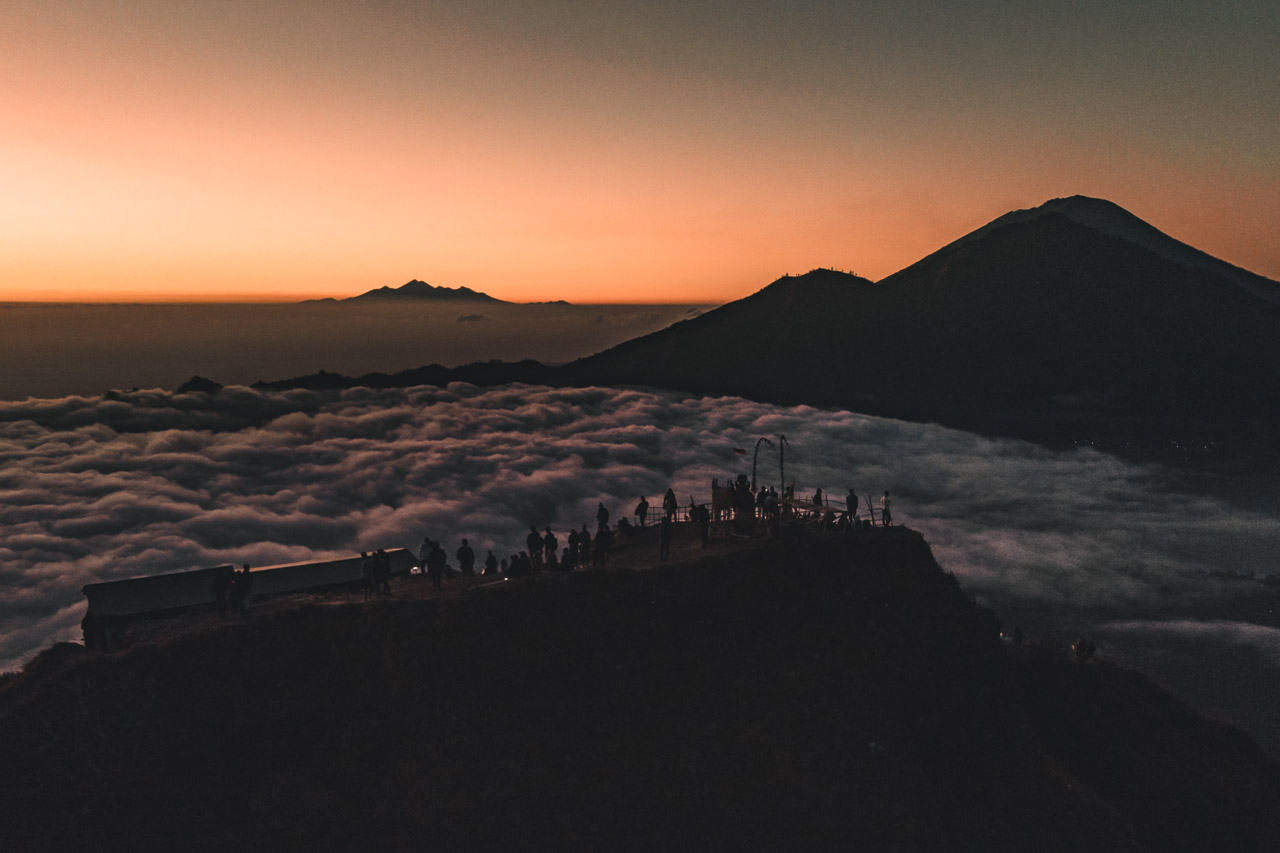 Ubud Mount Batur sunrise drone view