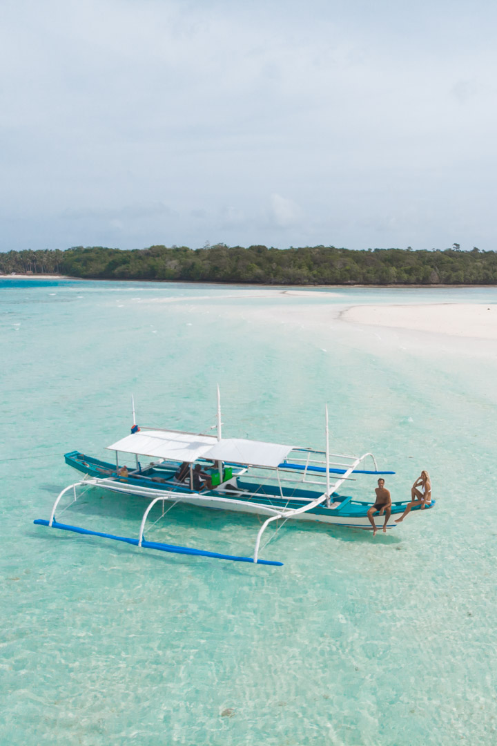 Balabac Palawan beach with banger boat