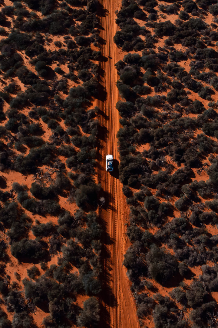 driving on the red sand tracks in Francois Peron National Park