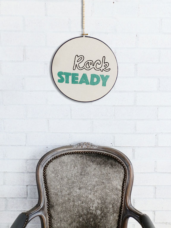 Embroidered Rock Steady Loop with detail of Rodney Chair