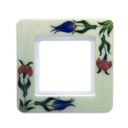 Image: Berker Q.7 Frame quartz-ceramics by Iznik Turkey 'Florals', single model