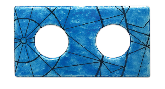 Suit'd Suits Cover Model double, Iznik handpainted Geometric Blue, ceramics