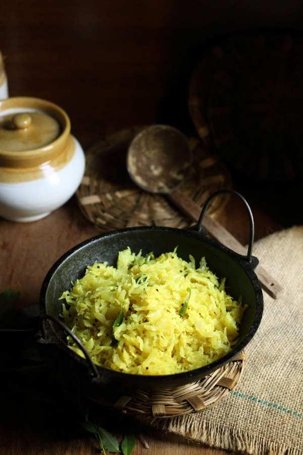 Kerala style Cabbage Thoran or Stir fried Cabbage.