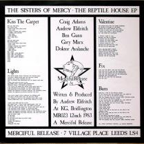 The Sisters Of Mercy - Reptile House E.P. The innersleeve