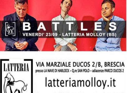 Battles Ian Williams Brescia gig poster locandina