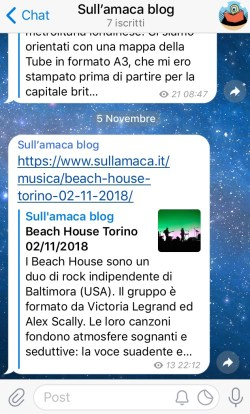 Telegram, foto, screenshot del canale Sull'amaca