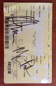 Low Padova 05/04/2019 Biglietto con gli autografi di Alan e Mimi.