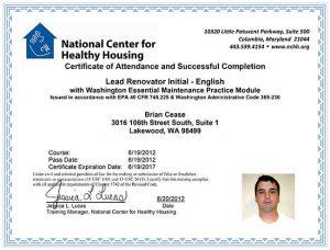 RRP Certified Renovator Certificate