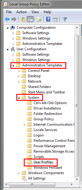 In Group Policy Settings choose the following options: