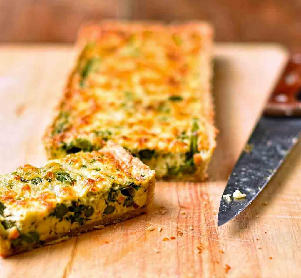 Asparagus broad bean & spring herb tart