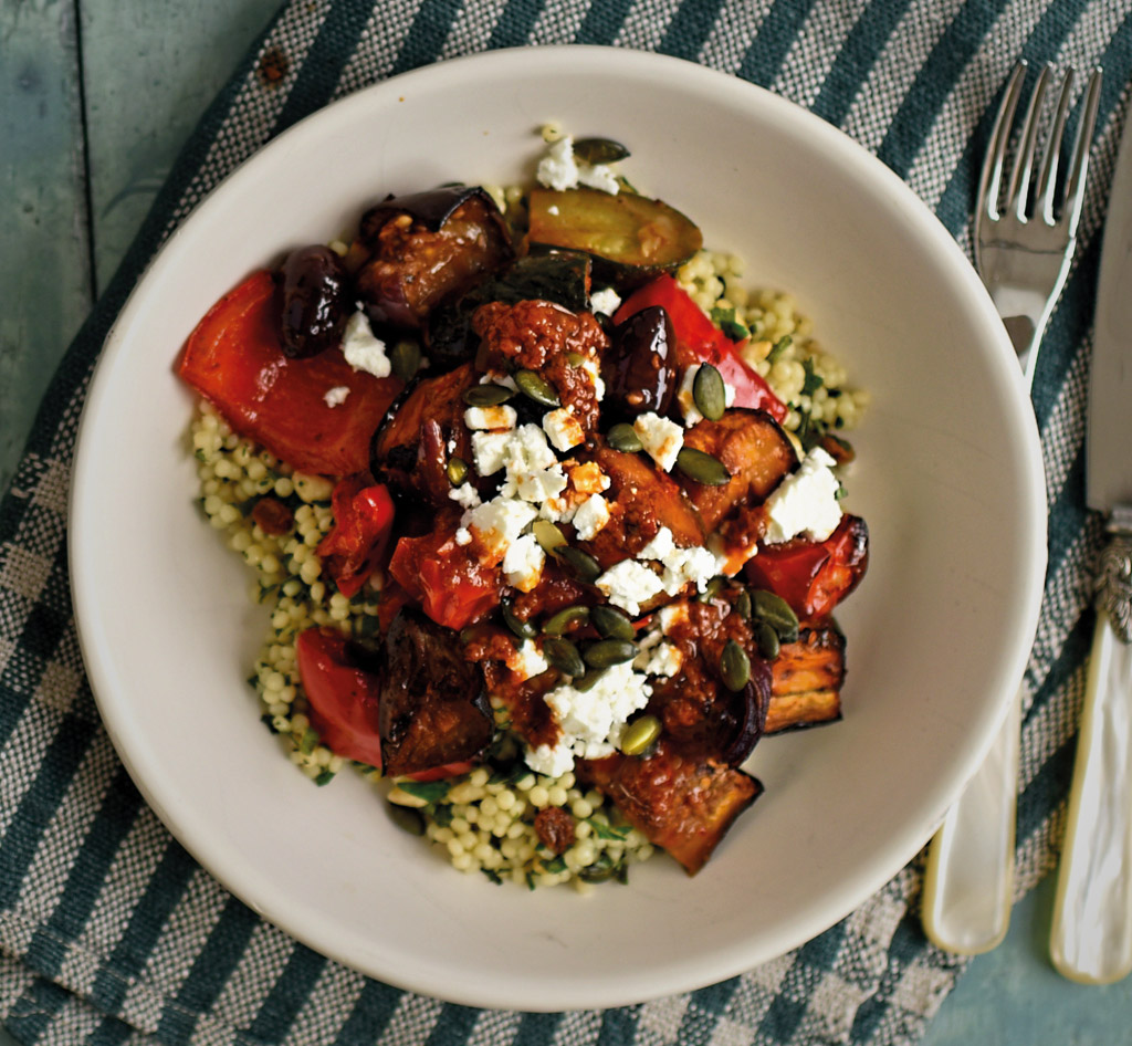 vegetarian harissa and pearl couscous recipe with feta cheese