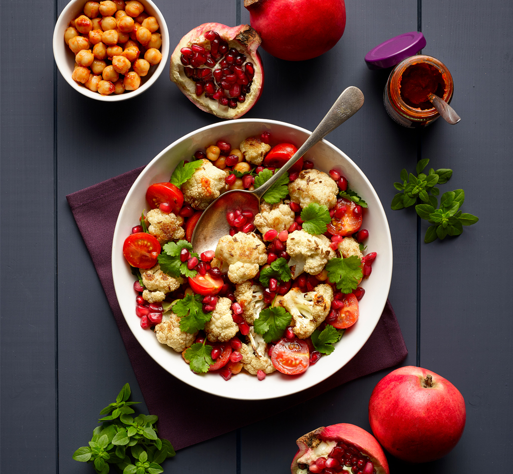 roasted cauliflower with pomegranate