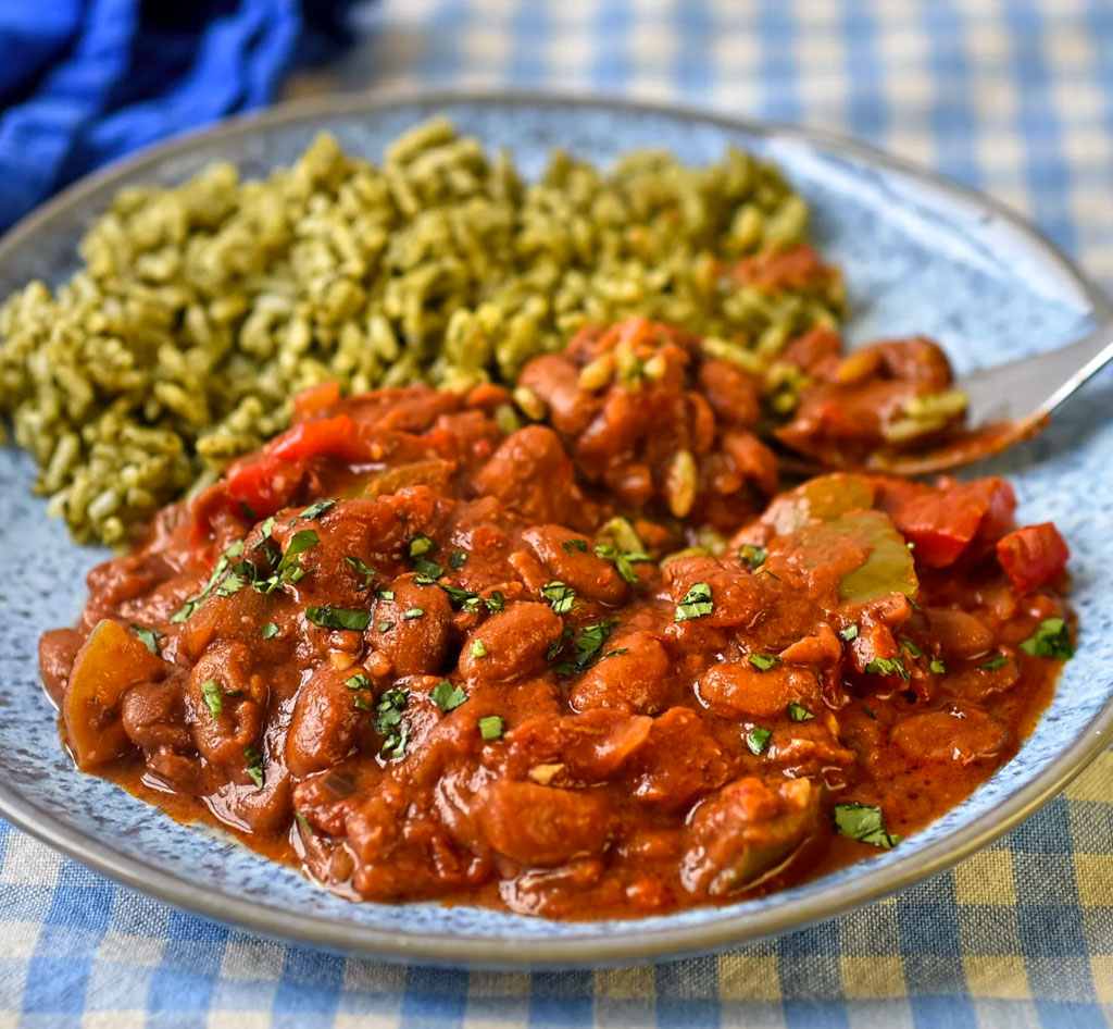 Mexican style pinto beans with green rice